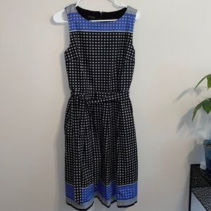 Talbots 6 blue black dress women's sleeveless